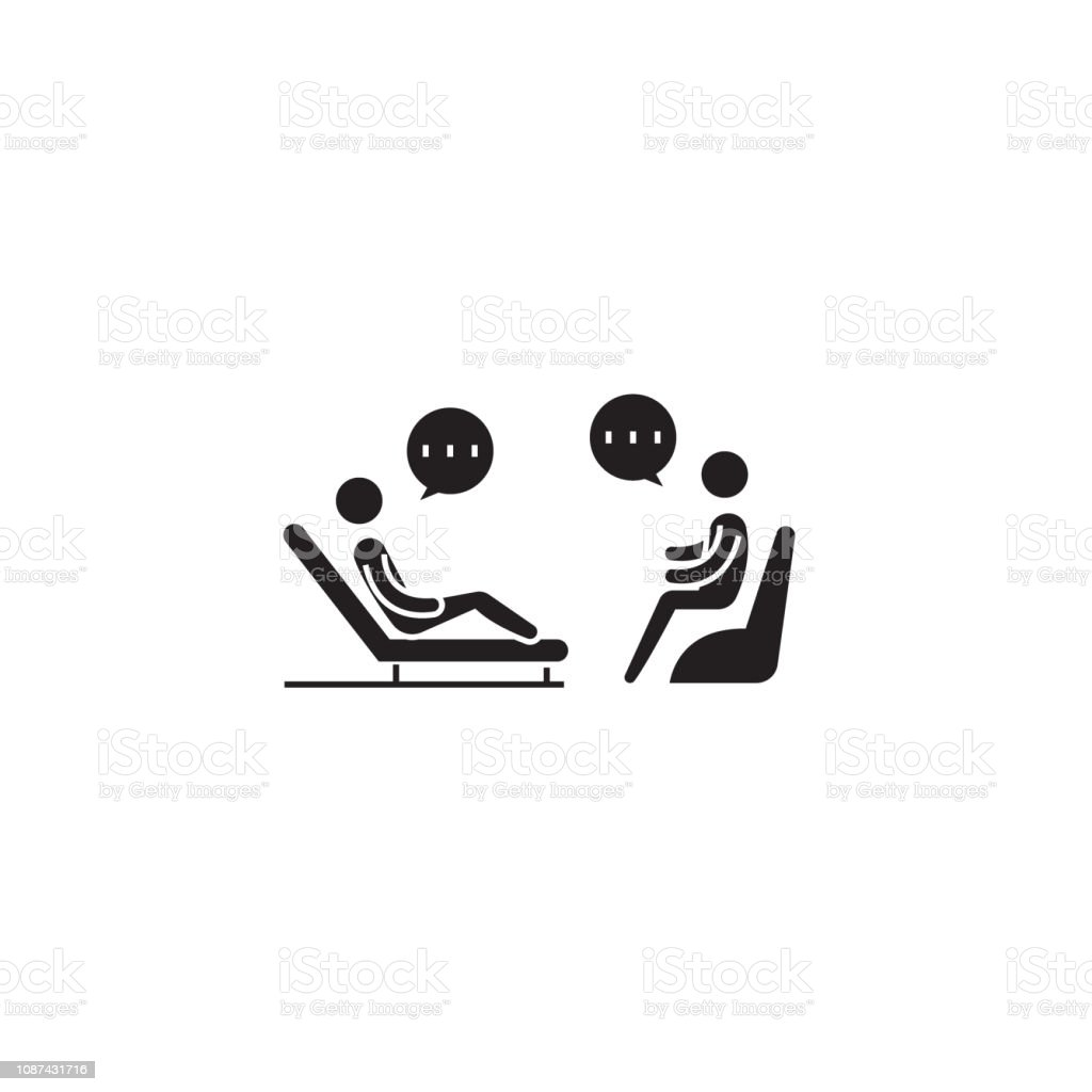 Psychologist couch black vector concept icon. Psychologist couch flat illustration, sign Psychologist couch black vector concept icon. Psychologist couch flat illustration, sign, symbol Adult stock vector