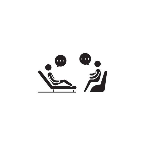 ilustrações, clipart, desenhos animados e ícones de ícone de conceito do psicólogo sofá preto vector. ilustração plana de psicólogo sofá, sinal - profissional de saúde mental
