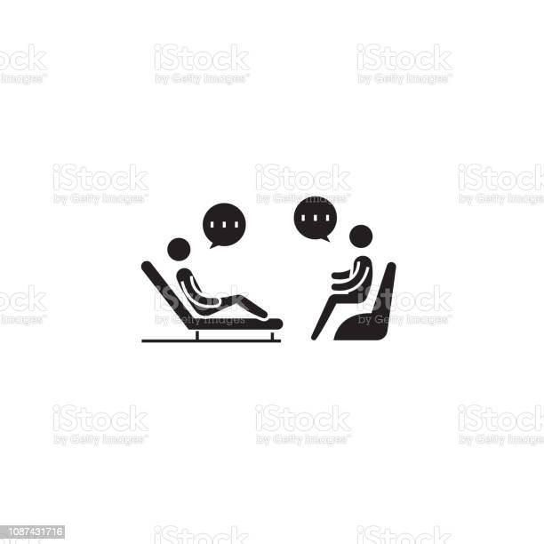 Psychologist Couch Black Vector Concept Icon Psychologist Couch Flat Illustration Sign Stock Illustration - Download Image Now