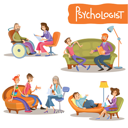 Psychologist private practice cartoon vector set