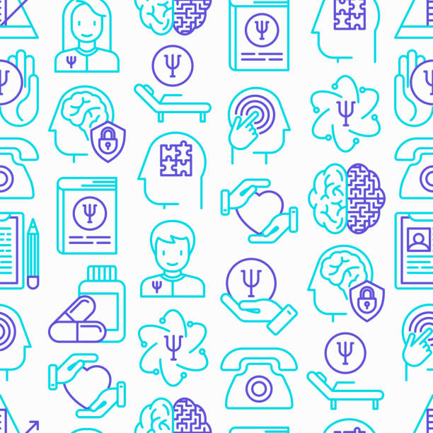 Psychologist seamless pattern with thin line icons: psychiatrist, disease history, armchair, pendulum, antidepressants, psychological support. Vector illustration. vector art illustration