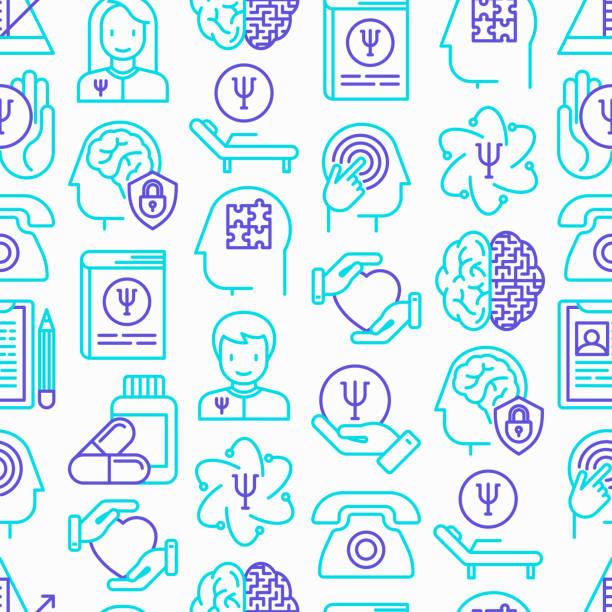 psikolog seamless modeli ile ince çizgi kutsal kişilerin resmi: psikiyatrist, hastalık geçmişi, koltuk, sarkaç, antidepresanlar, psikolojik destek. vektör çizim. - therapist stock illustrations