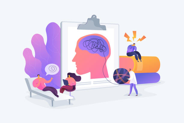 Psychologist service concept vector illustration Psychotherapy practice, psychiatrist consulting patient. Mental disorder treatment. Psychologist service, private counseling, family psychology concept. Vector isolated concept creative illustration mental health stock illustrations