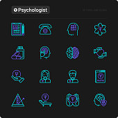 Psychologist thin line icons set: psychiatrist, disease history, armchair, pendulum, antidepressants, psychological support. Vector illustration for black theme.