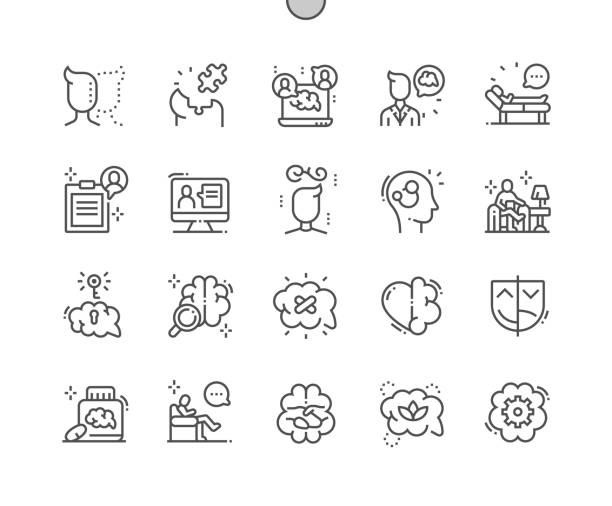 psychologist well-crafted pixel perfect vector thin line icons 30 2x grid for web graphics and apps. simple minimal pictogram - therapist stock illustrations
