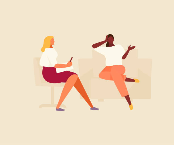 Psychologist with patient therapy vector Young woman talking with a psychologist. Psychological counseling and therapy. Vector flat illustration. counseling stock illustrations