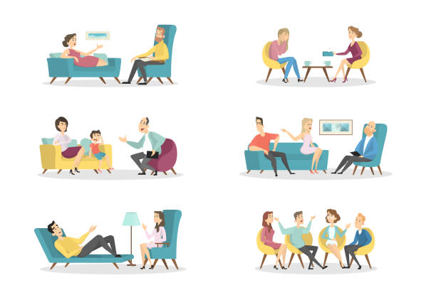 Psychologists with patients vector art illustration