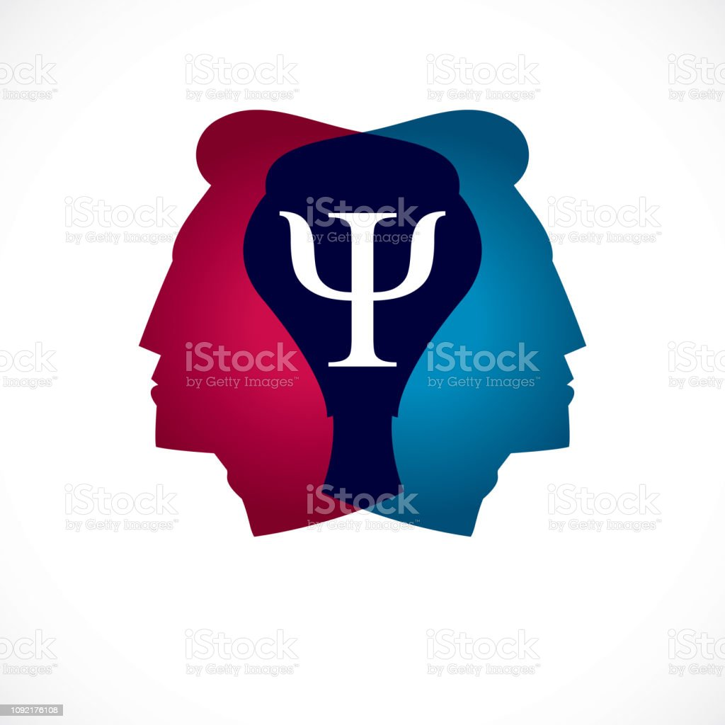 Psychology and mental health concept, created with double man head profile as an archetype and shadow, psychoanalysis, individuality and psychical problems. Vector icon design.