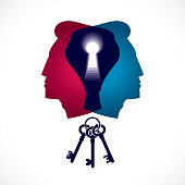 Psychology and mental health concept, created with double man head profile and keyhole, psychoanalysis as a key to human nature, individuality and archetype shadow. Vector icon design.