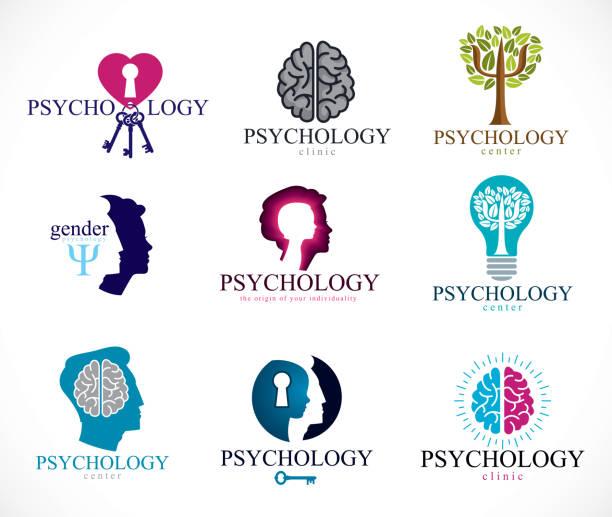 psikoloji, beyin ve ruh sağlığı vektör kavramsal simgeleri ayarlayın. i̇lişki ve cinsiyet psikoloji sorunlar ve çakışmaları, psikanaliz ve psikoterapi, kişilik ve bireysellik. - therapist stock illustrations