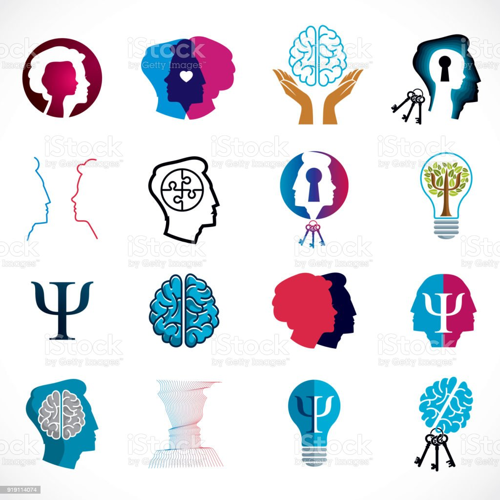 Psychology Brain And Mental Health Vector Conceptual Icons