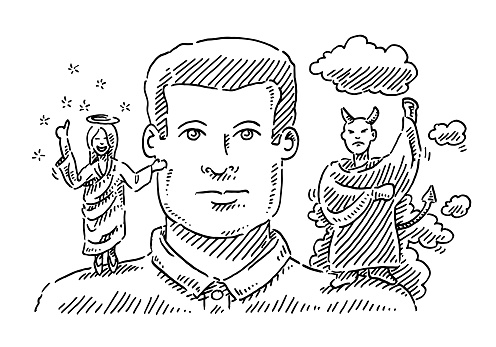 Psychology Concept Man With Angel And Devil On Shoulders Drawing