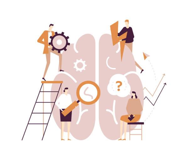 bildbanksillustrationer, clip art samt tecknat material och ikoner med psykologi koncept-modern vektor platt design stil illustration - brain magnifying