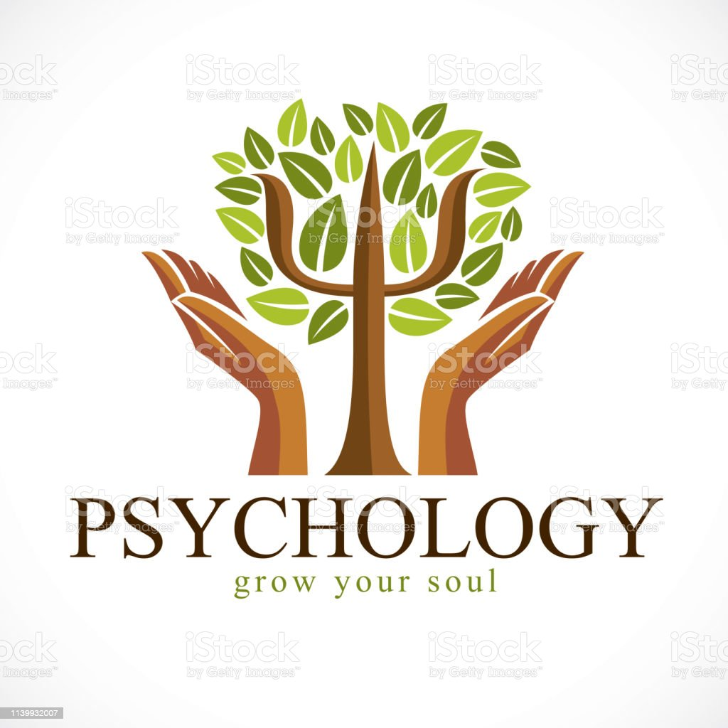 Psychology concept vector icon created with Greek Psi symbol as a green tree with leaves and tender guarding hands, mental health concept, psychoanalysis analysis and psychotherapy.