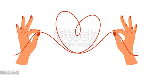 istock Psychology concept with human hands holding the ends of the red threads in the shape of the heart. 1193680231