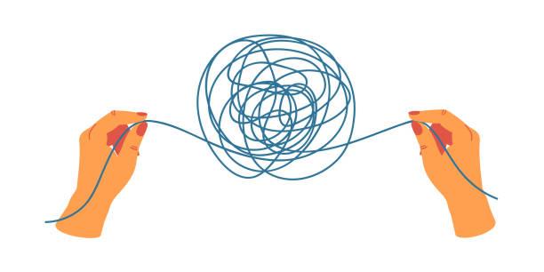 psychologie-konzept mit menschlichen händen, die die enden der fäden halten, entwirren das gewirr - strickideen stock-grafiken, -clipart, -cartoons und -symbole