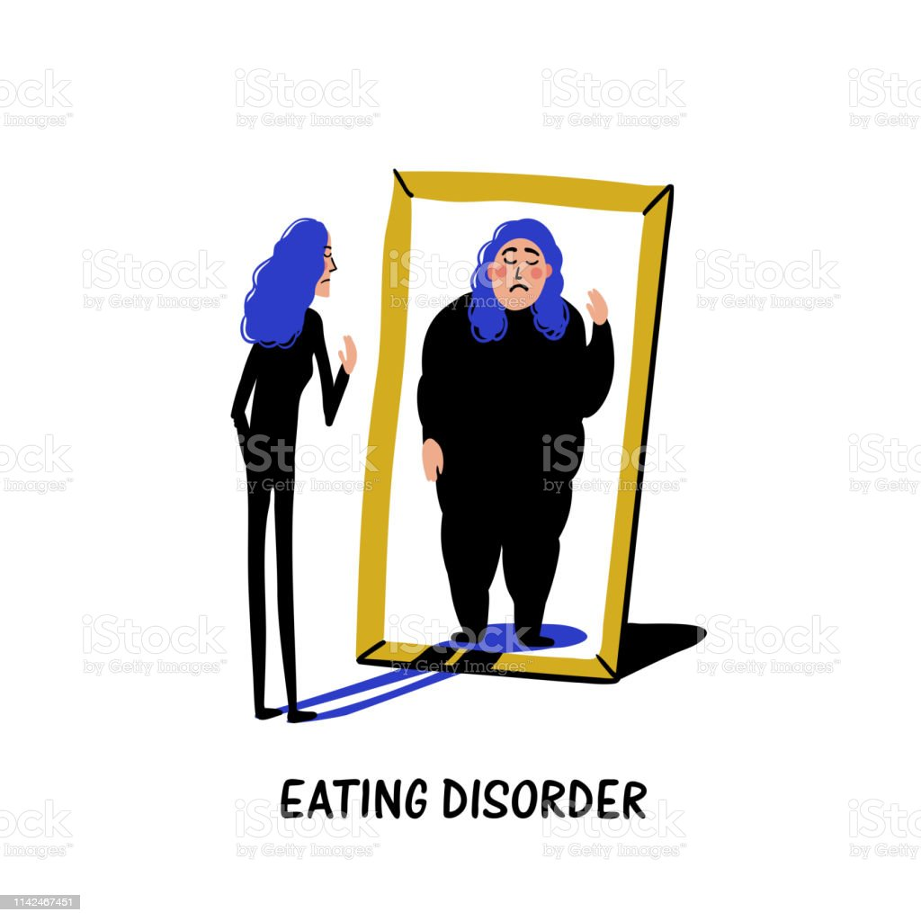 Psychology. Eating disorder, anorexia or bulimia. Slim young woman looking in mirror and seeing herself as overweight. Doodle style flat vector illustration vector art illustration