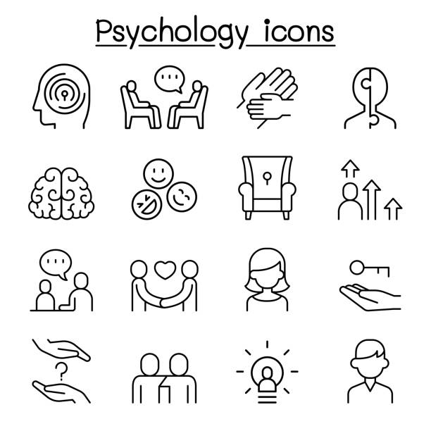 Psychology icon set in thin line style Psychology icon set in thin line style counseling stock illustrations