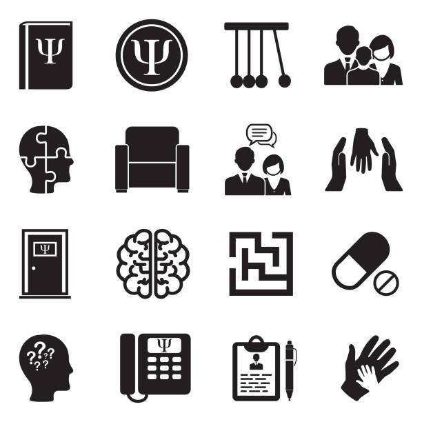 psychology icons. black flat design. vector illustration. - therapist stock illustrations