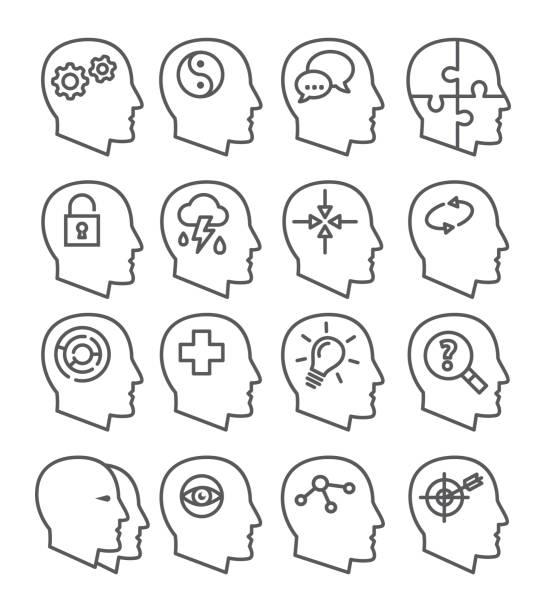 stockillustraties, clipart, cartoons en iconen met psychologie lijn vector icons set - psychische aandoening