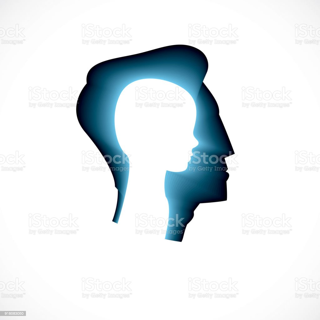 Psychology, mental health vector design, created with man head profile and little child boy inside, inner child concept, origin of human individuality and psychic problems. Therapy and analysis.