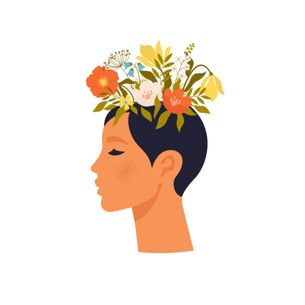 Psychology. Mental health. Woman character with flower head. Mental health concept, good mood, harmony flat vector illustration vector art illustration