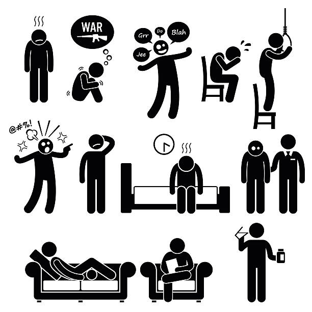 Psychology Psychiatric Mental Disorder Problem Psycho Illness Treatment vector art illustration