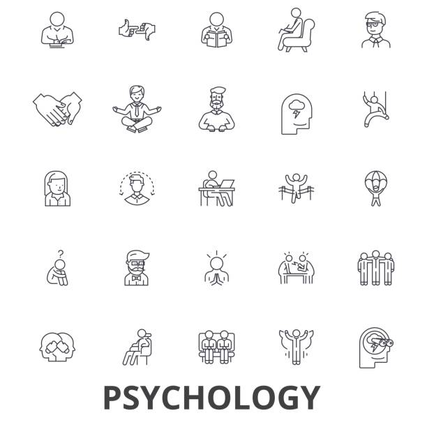 psikoloji, psikolog, danışmanlık, testi, tedavi, beyin, sosyoloji, zihin satır simgeler. düzenlenebilir vuruş. düz tasarım vektör çizim sembolü konsepti. lineer işaretler izole - therapist stock illustrations