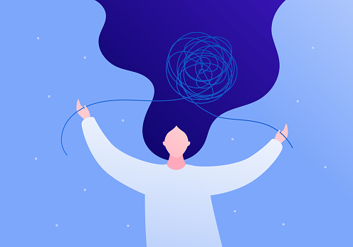 Psychology, psychotherapy and mental health care concept. Vector flat person illustration. Woman patient untangle tangled thread. Design for square banner template, web, ads.