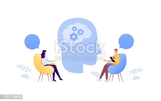 istock Psychology, psychotherapy and psychiatry counseling concept. Vector flat person illustration. Human head with brain. Man psychologist and female patient. Speech bubble sign. Design element. 1252753853