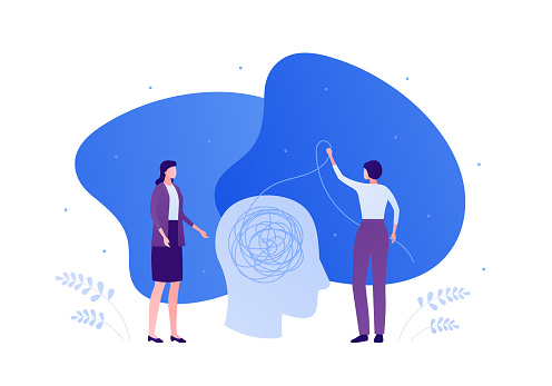 Psychology, psychotherapy and psychiatry counseling concept. Vector flat person illustration. Human head with tangled thread. Woman doctor and female patient. Design element for banner, infographic.