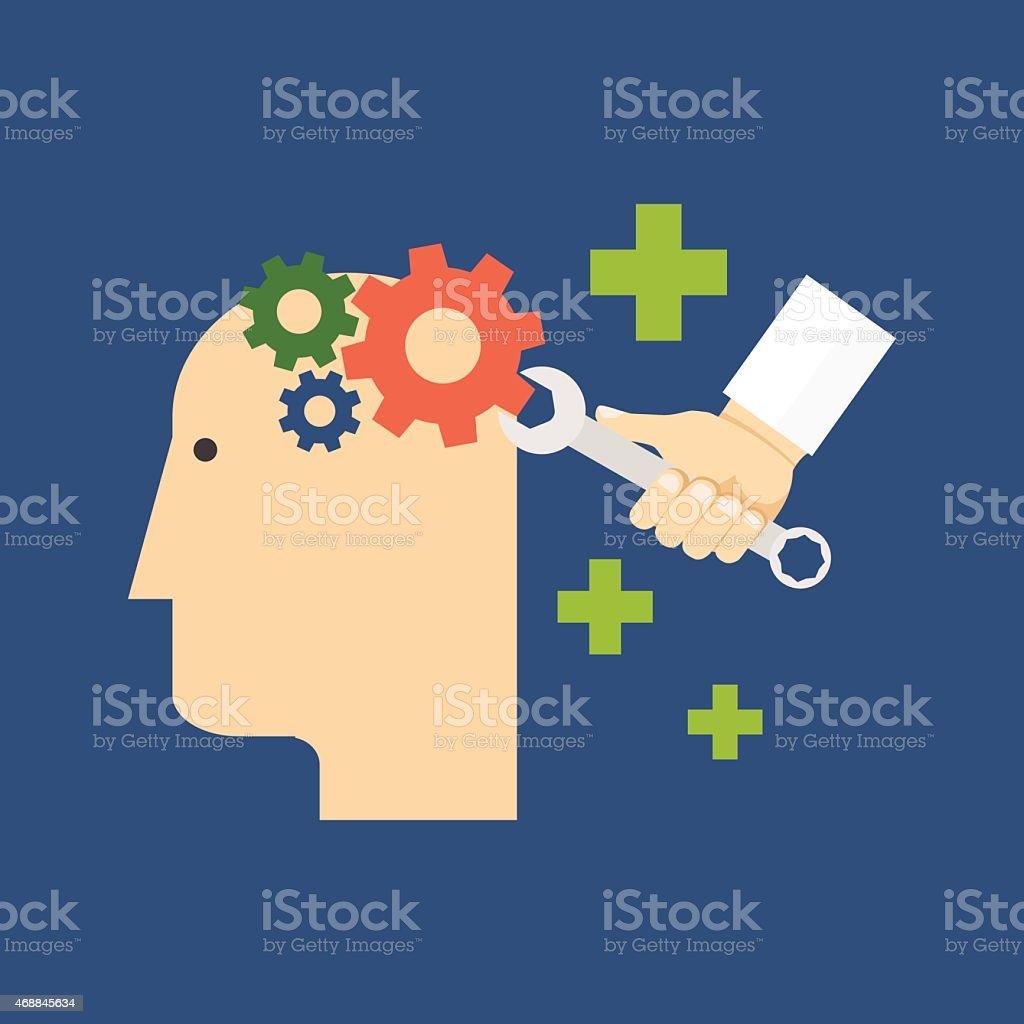 Psychology, psychotherapy, mental healing concept. Flat design. vector art illustration