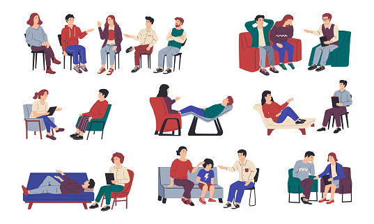 Psychology therapy. Family and individual or group meeting with psychologist. Isolated people sitting on chair or lying on couch and talking with doctor. Frank conversation, vector set