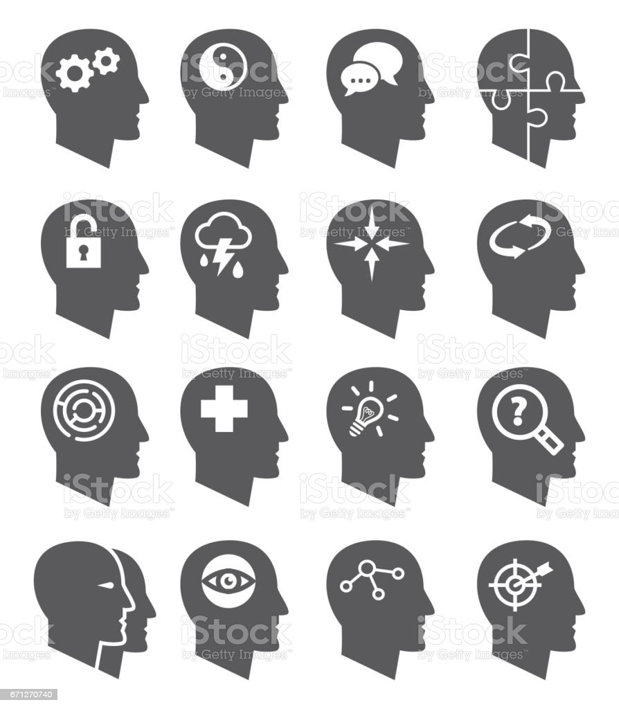 Psychology vector icons set vector art illustration