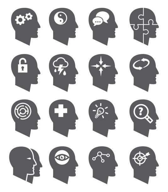 ilustraciones, imágenes clip art, dibujos animados e iconos de stock de conjunto de iconos de vector de psicología - profesional de salud mental