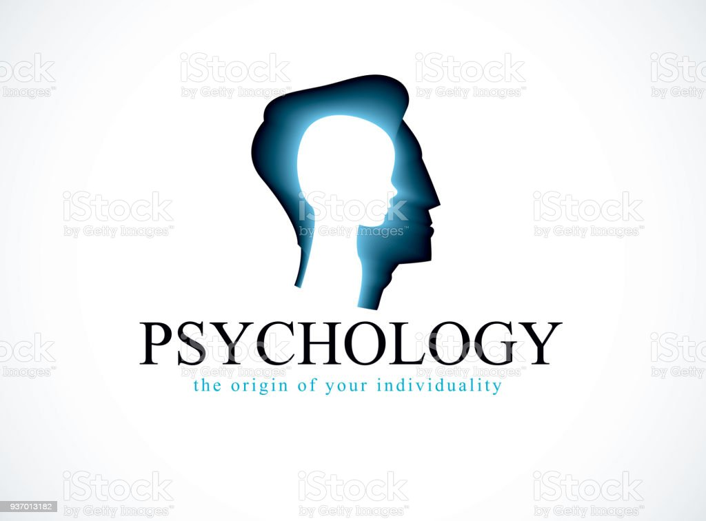 Psychology vector sign created with man head profile and little child boy inside, inner child concept, origin of human individuality and psychic problems. Psychotherapy and psychoanalysis concept.