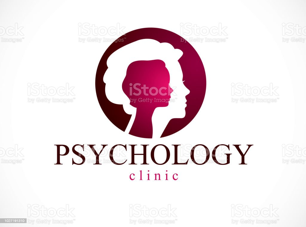 Psychology Vector Sign Created With Woman Head Profile And