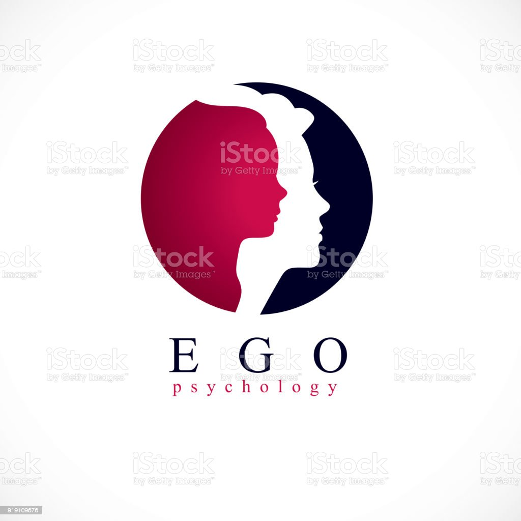 Psychology vector sign created with woman head profile and little child girl inside, inner child concept, origin of human individuality and psychic problems. Psychotherapy and psychoanalysis concept.
