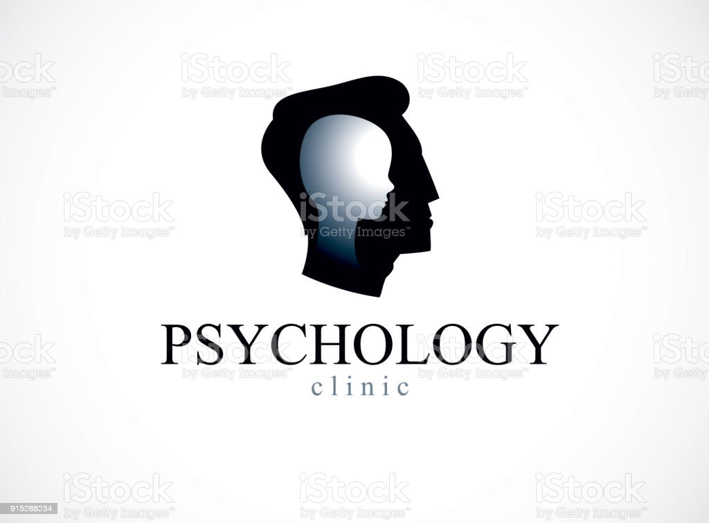 Psychology vector symbol created with man head profile and little child boy inside, inner child concept, origin of human individuality and psychic problems. Psychotherapy and psychoanalysis concept.