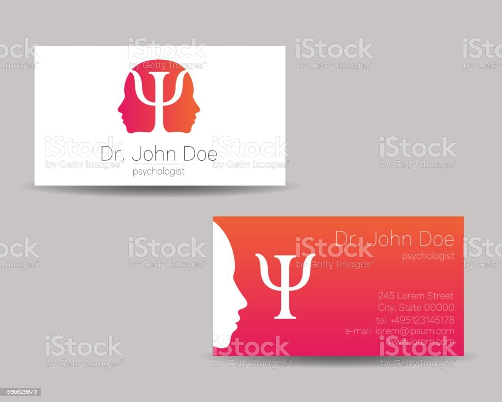 Psychology vector visit card. Modern sign . Creative style. Design concept. Brand company. Pink color isolated on gray background. Symbol for web, print. visiting personal set illustration. vector art illustration