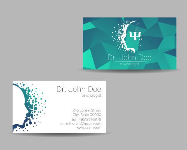 psikoloji vektör ziyaret kart. modern işareti. yaratıcı tarzı. tasarım konsepti. marka şirket. yeşil renk gri arka plan üzerinde izole. web, baskı simgesi. kişisel seti ziyaret etti - therapist stock illustrations