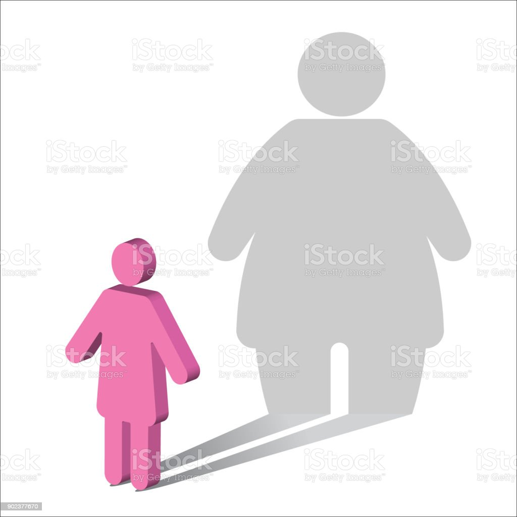 Psychology-Body Dysmorphia-Female vector art illustration