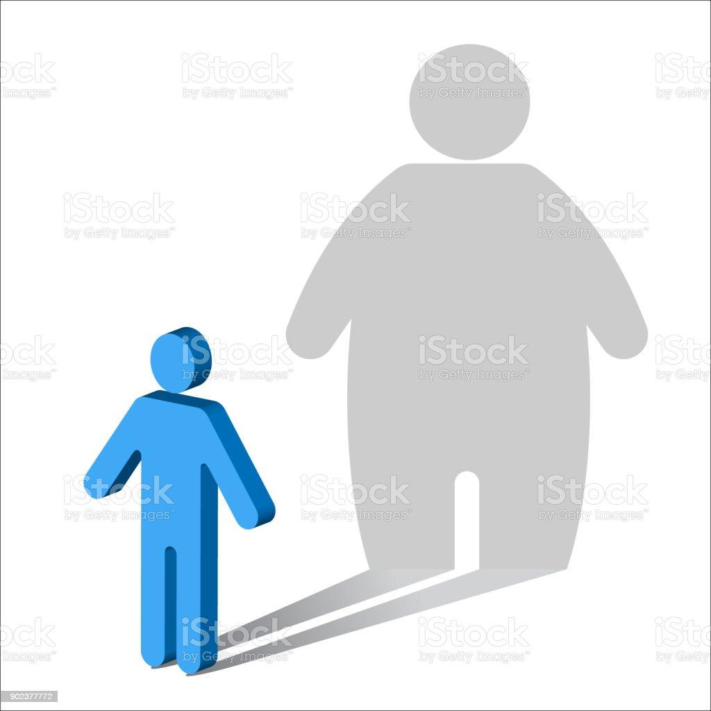 Psychology-Body Dysmorphia-Male vector art illustration