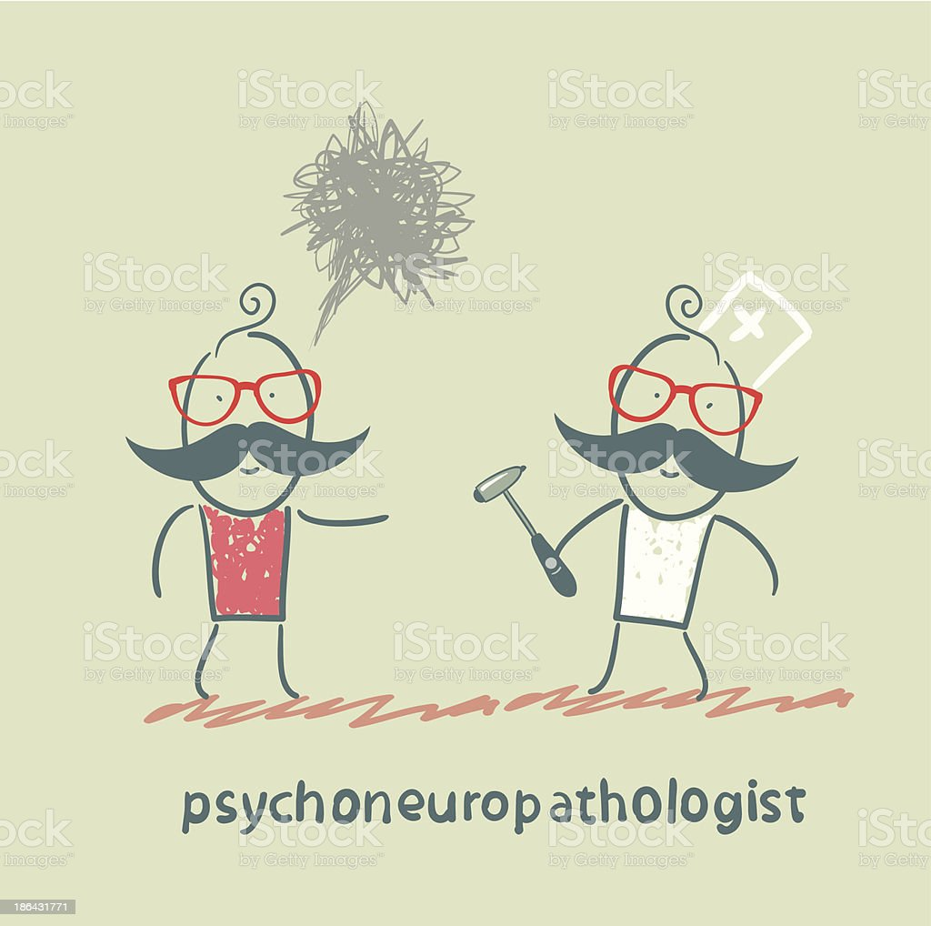 psychoneuropathologist stands next to a distraught patient royalty-free stock vector art