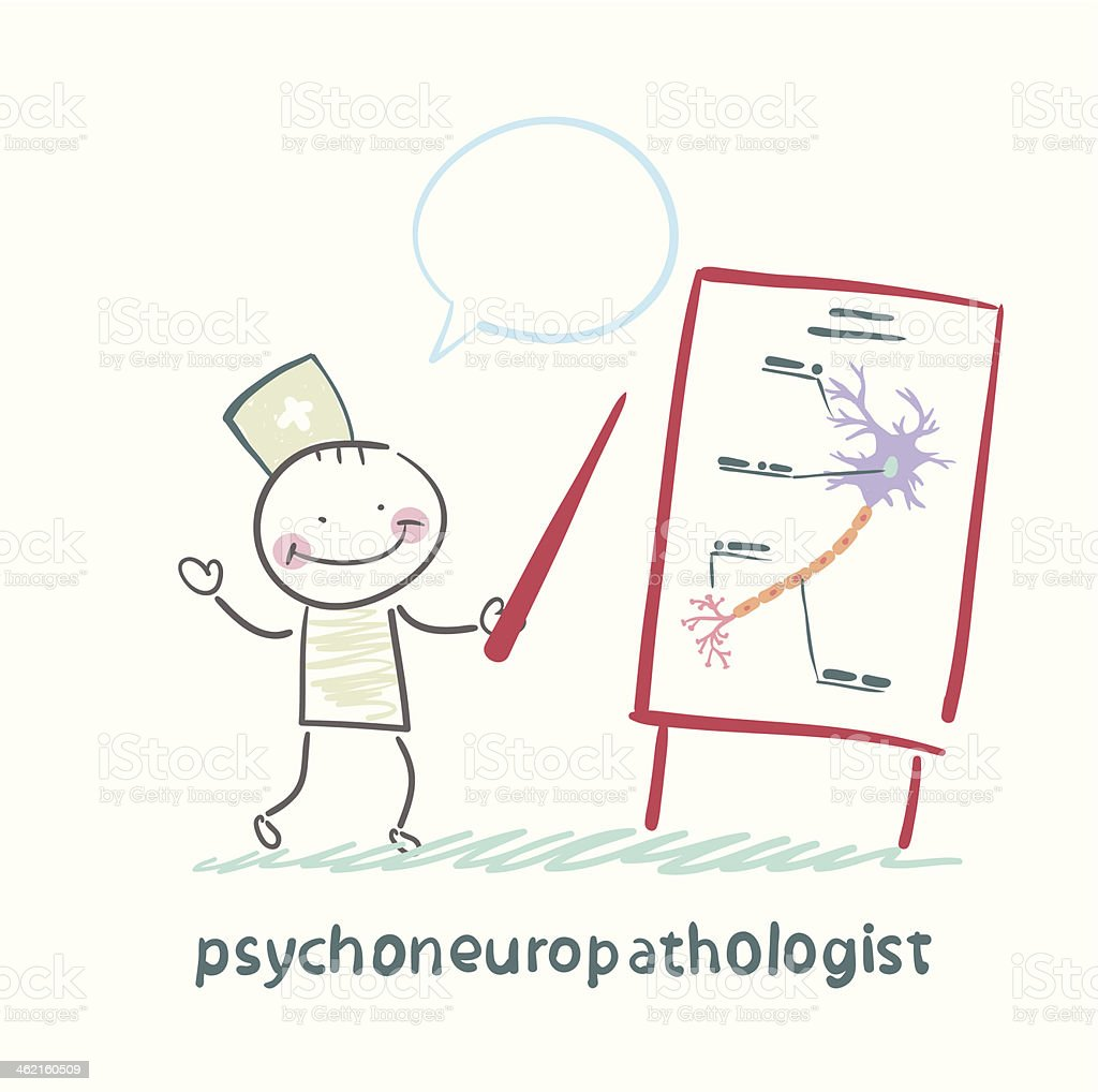 psychoneuropathologist  tells the presentation royalty-free stock vector art