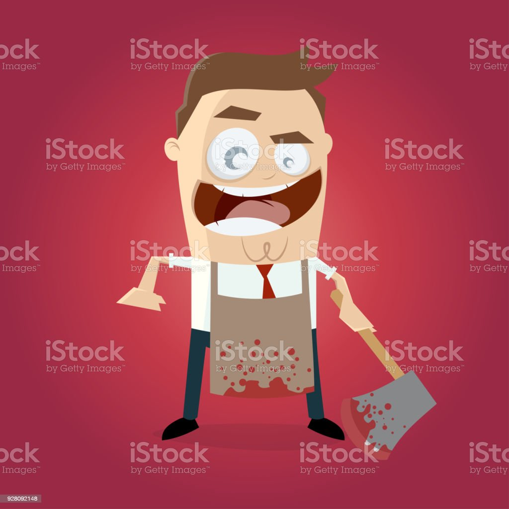 psychopath with bloody hatchet and apron vector art illustration
