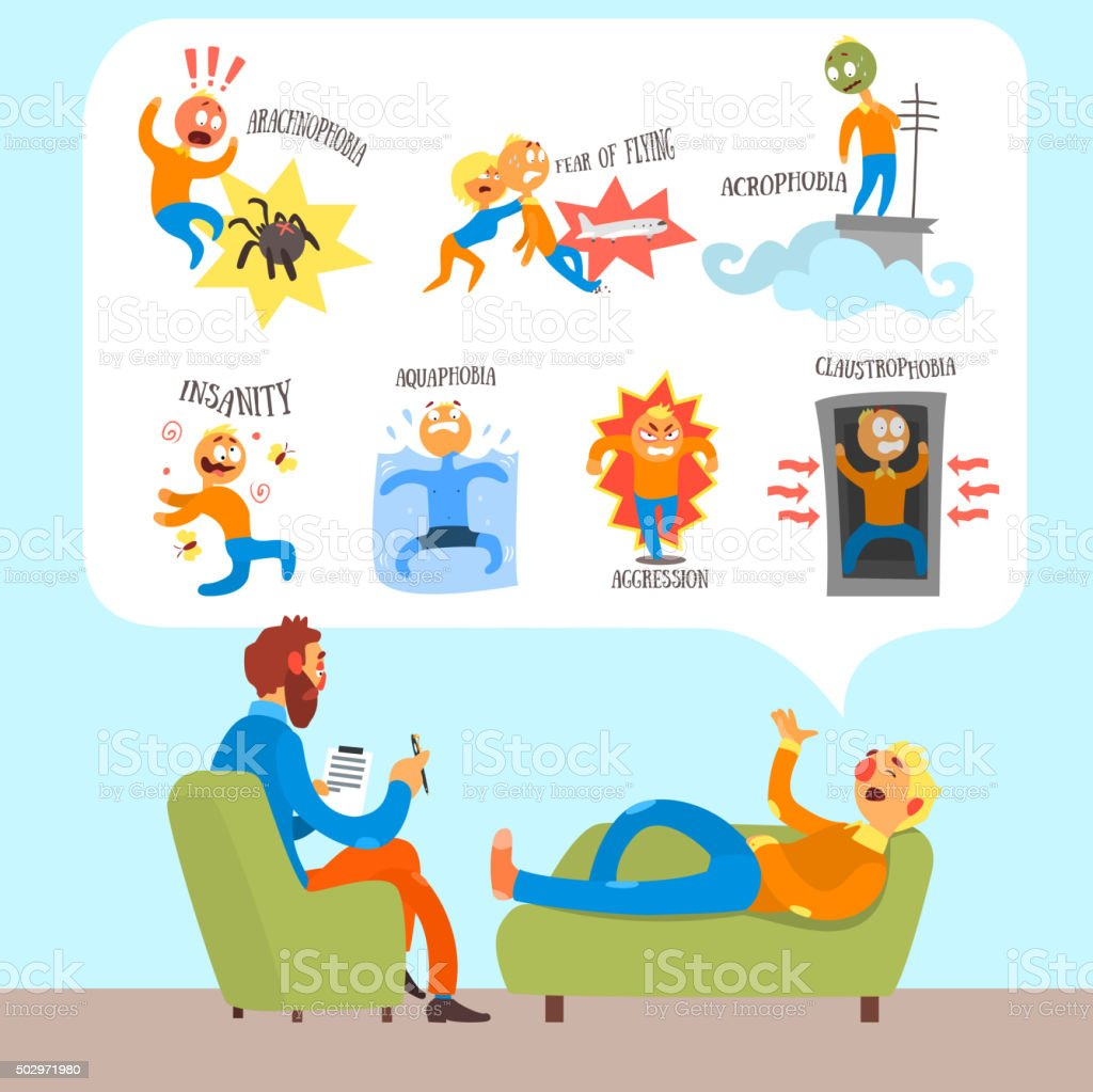 Psychotherapist with Lying Patient Discussing Phobia. Simple Vector Illustration vector art illustration