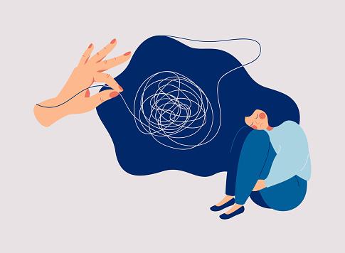 Psychotherapy And Psychology Help With Depressive Disorders - Immagini vettoriali stock e altre immagini di Accudire