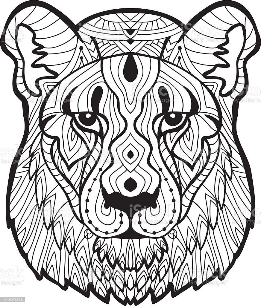 Psychotherapy Coloring Book For Adults The Lioness Stock Vector