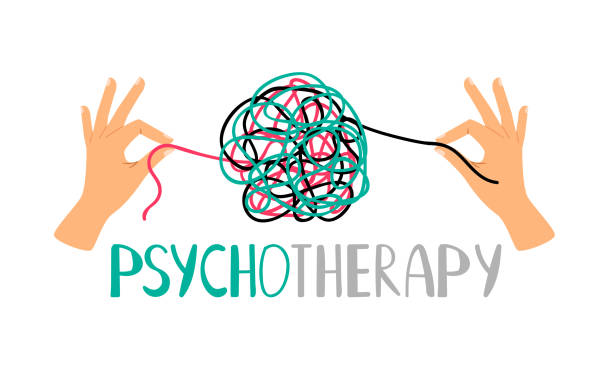 psychotherapy concept icon - therapist stock illustrations